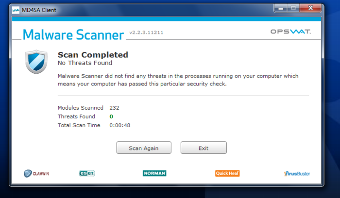 Screenshot 2 of Opswat Malware Scanner