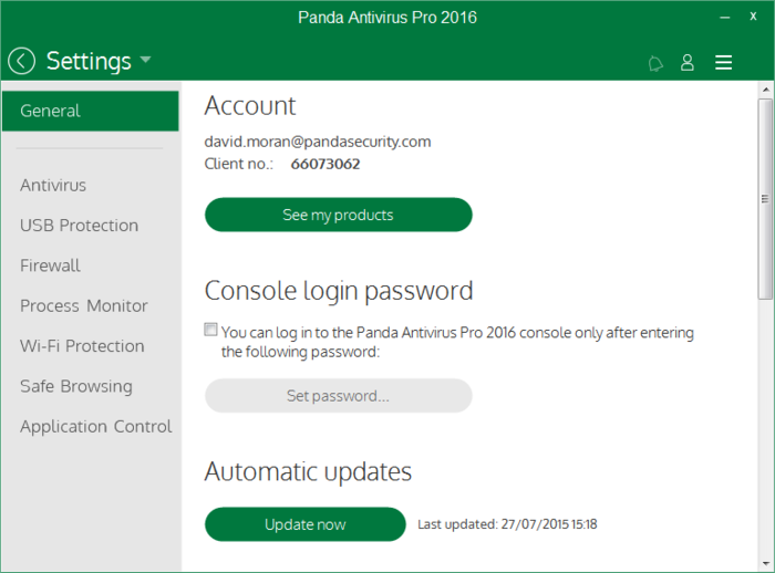 Screenshot 1 of Panda Antivirus Pro