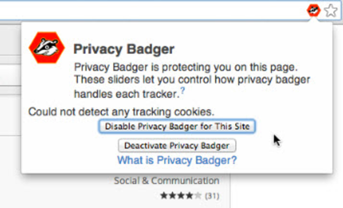 Screenshot 1 of Privacy Badger