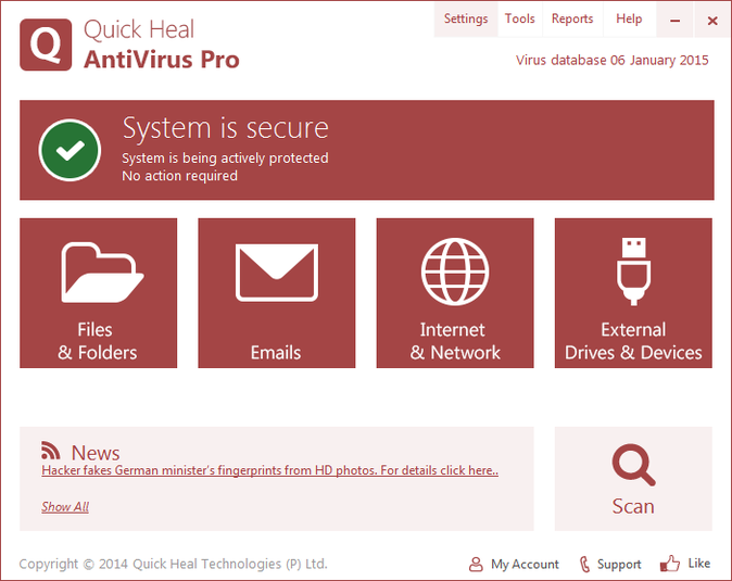 Screenshot 1 of Quick Heal AntiVirus Pro