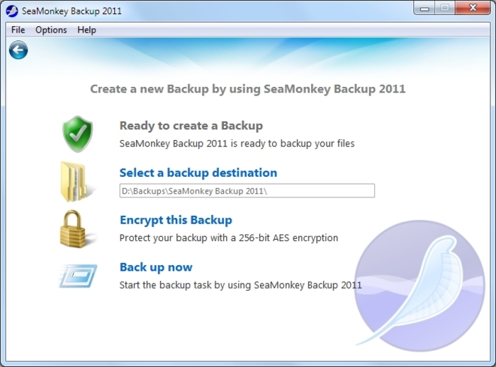 Screenshot 3 of SeaMonkey Backup 2012