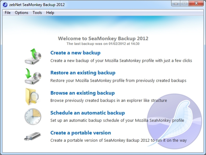 Screenshot 6 of SeaMonkey Backup 2012