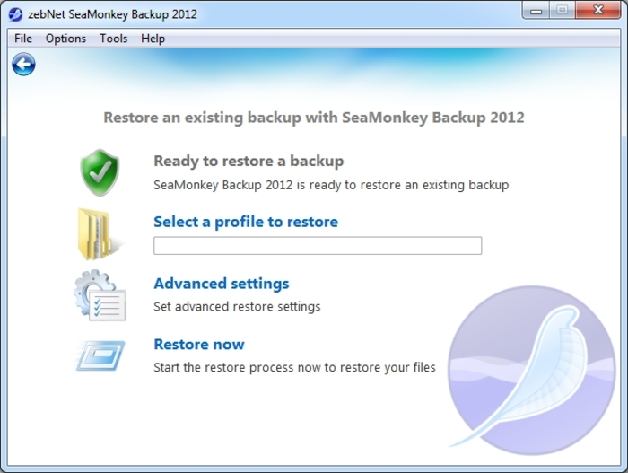 Screenshot 9 of SeaMonkey Backup 2012