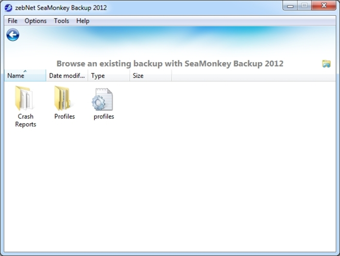 Screenshot 1 of SeaMonkey Backup 2012