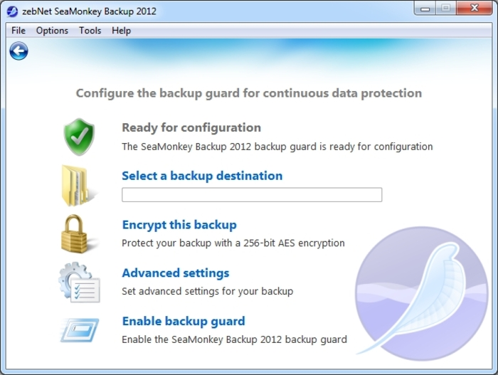 Screenshot 7 of SeaMonkey Backup 2012