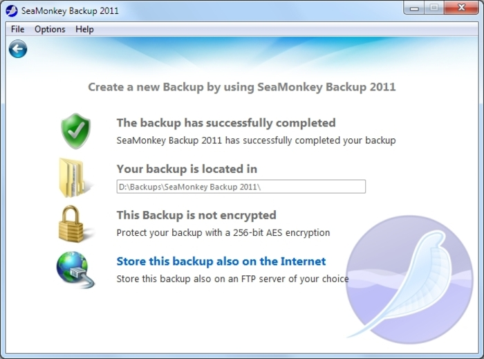 Screenshot 15 of SeaMonkey Backup 2012
