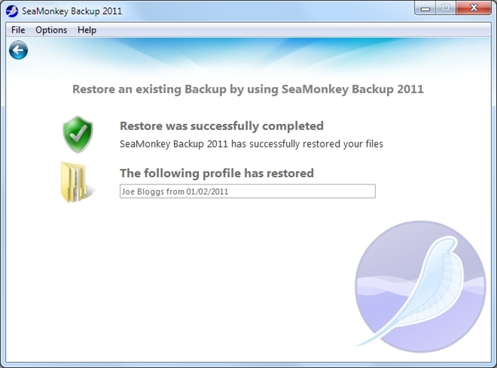 Screenshot 5 of SeaMonkey Backup 2012