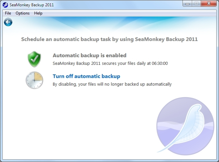 Screenshot 4 of SeaMonkey Backup 2012