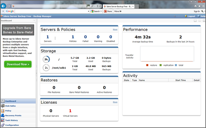 Screenshot 1 of Server Backup Free