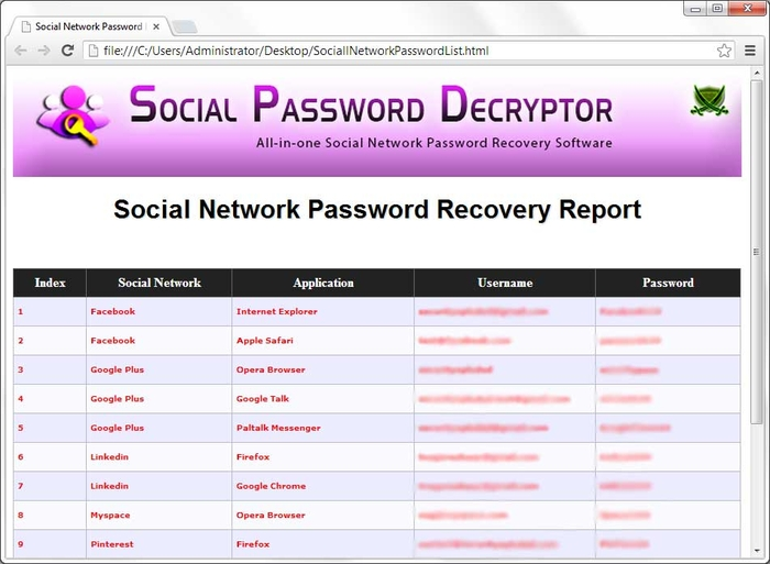 Screenshot 1 of Social Password Decryptor