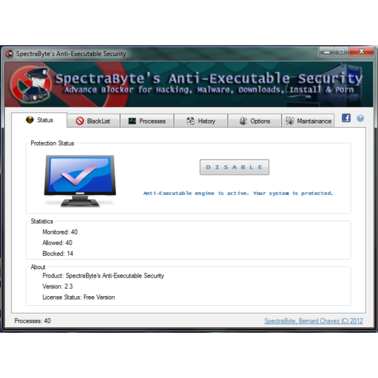 Screenshot 3 of SpectraByte Anti-Executable Security