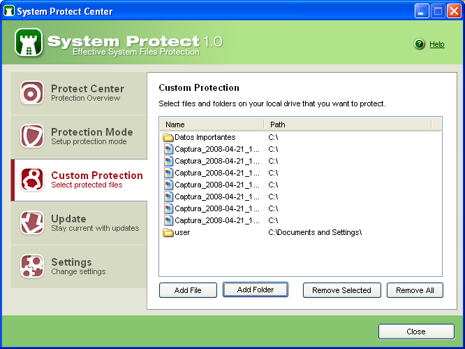 Screenshot 1 of System Protect