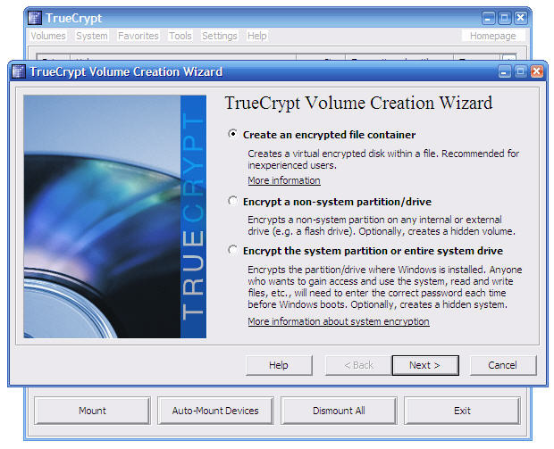 Screenshot 1 of TrueCrypt