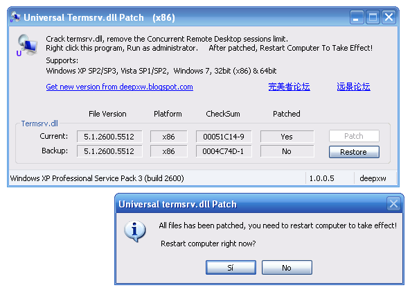 Download Universal Termsrv dll Patch free — NetworkIce com