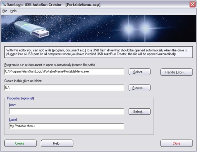 Screenshot 1 of USB AutoRun Creator