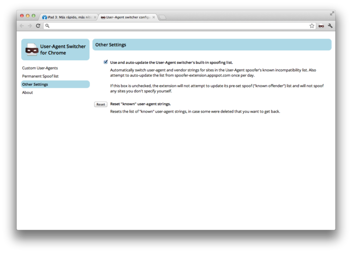 Screenshot 1 of User-Agent Switcher