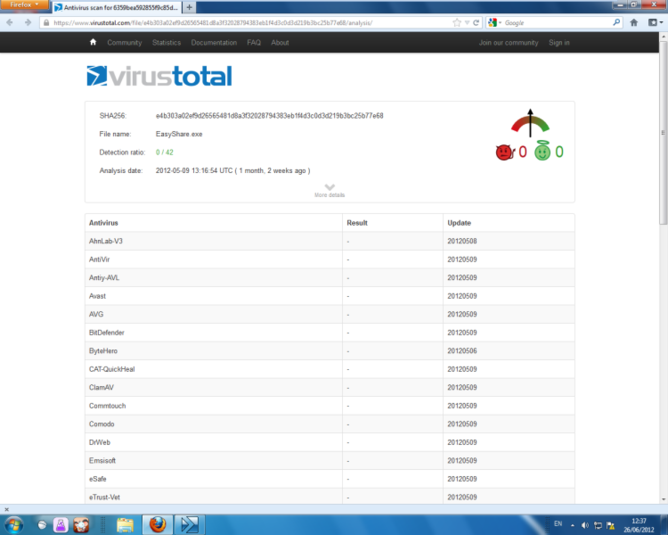 Screenshot 1 of VirusTotal Uploader