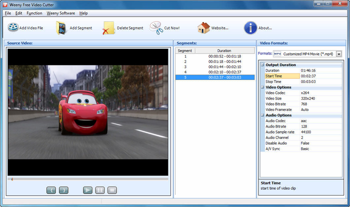Boilsoft video cutter cut avi/mp4/vob video files to all popular.