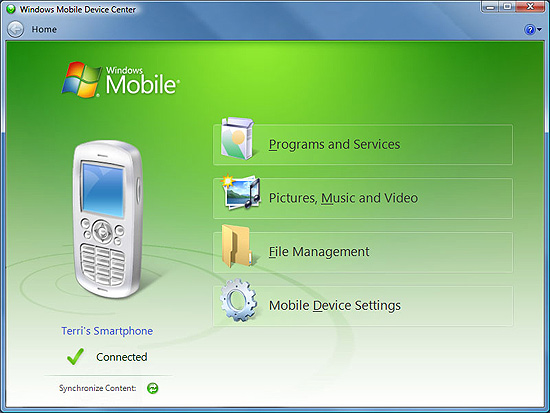 Screenshot 1 of Windows Mobile Device Center