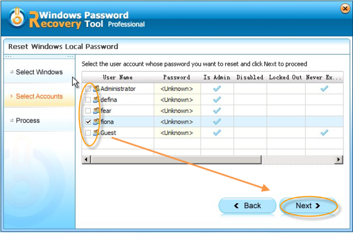 Screenshot 1 of Windows Password Recovery Tool Professional