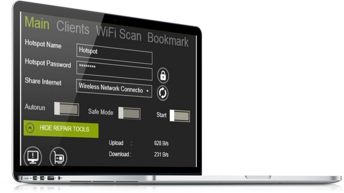 Screenshot 1 of winhotspot Virtual WiFi Router