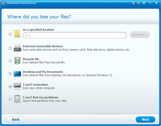 Screenshot 1 of Wondershare Data Recovery