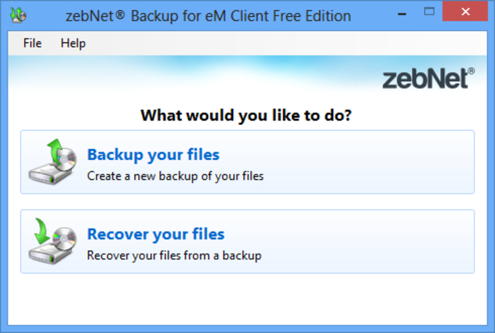 Screenshot 1 of zebNet Backup for eM Client Free Edition