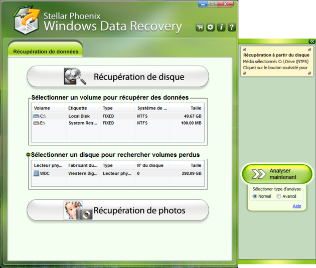 gratuitement stellar phoenix data recovery