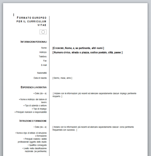 download curriculum vitae europeo  da compilare  free
