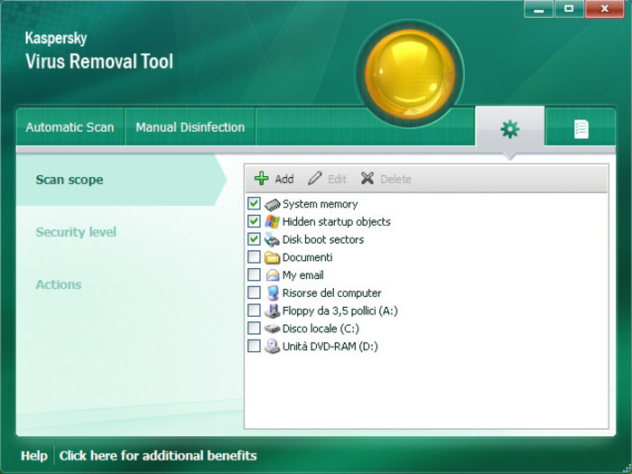 Screenshot 1 of Kaspersky Virus Removal Tool