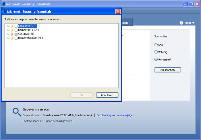 Screenshot 4 of Microsoft Security Essentials voor Windows XP