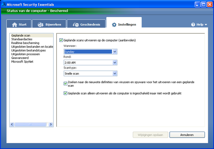 Screenshot 6 of Microsoft Security Essentials voor Windows XP