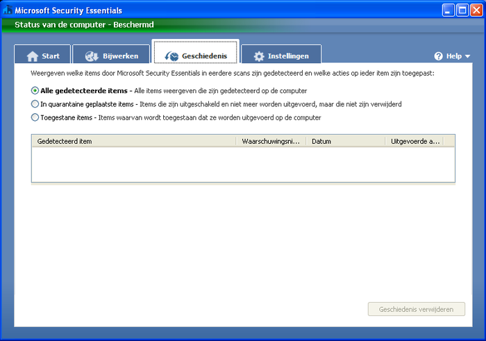 Screenshot 9 of Microsoft Security Essentials voor Windows XP