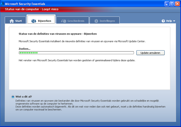 Screenshot 2 of Microsoft Security Essentials voor Windows XP