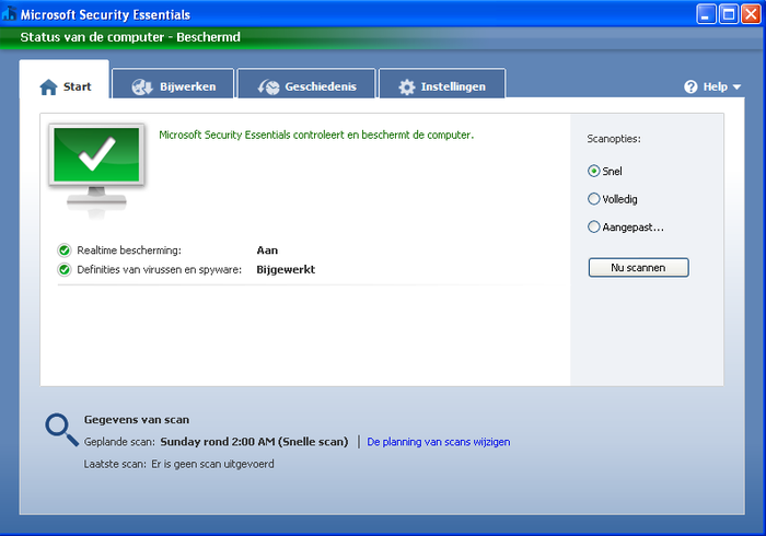 Screenshot 7 of Microsoft Security Essentials voor Windows XP