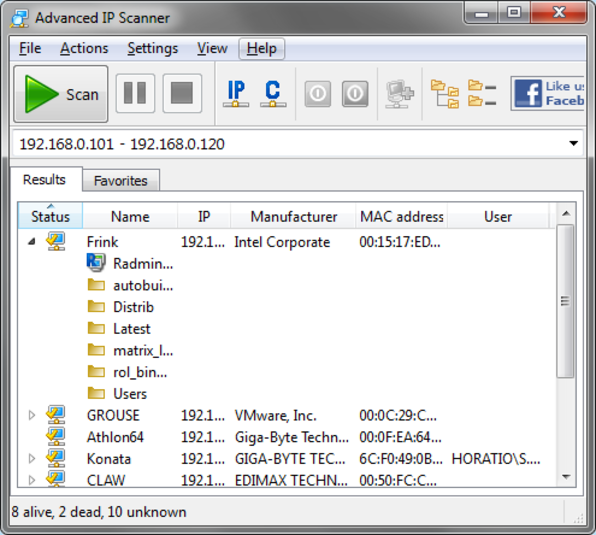 Screenshot 1 of Advanced IP Scanner