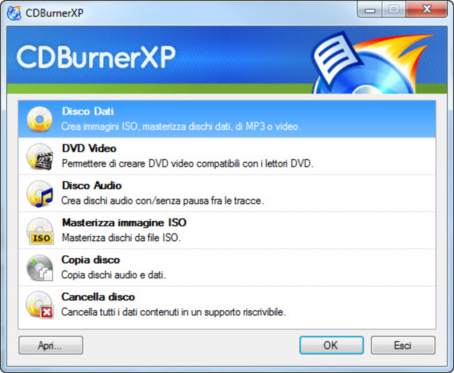 cdburnerxp in italiano da