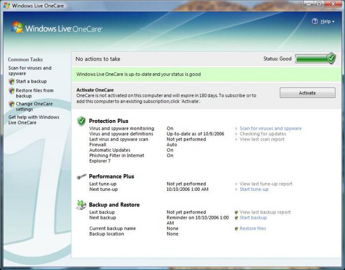 Screenshot 1 of Windows Live OneCare