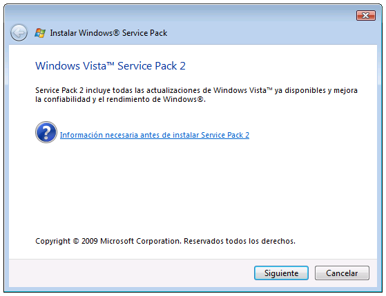 Download windows vista service pack 2 for free.