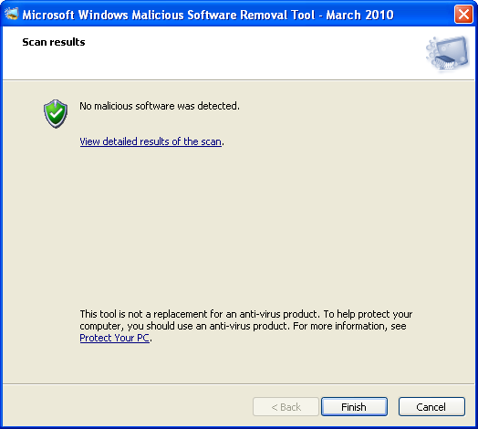 Screenshot 2 of Windows Malicious Software Removal Tool