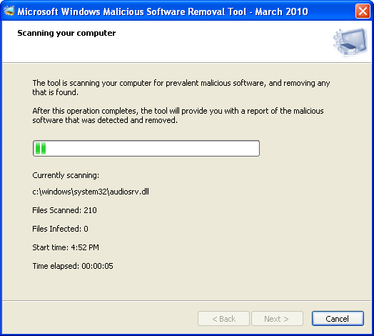 Screenshot 4 of Windows Malicious Software Removal Tool